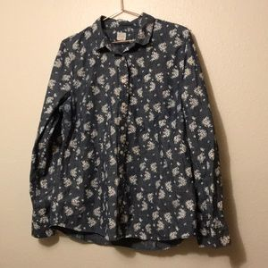J crew printed chambray button up
